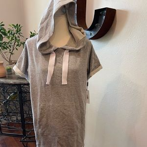 NWT Calvin Klein Grey  Cotton Blend Hoodie Dress